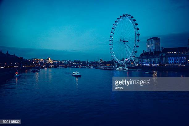 London city center view in the evening on river Thames