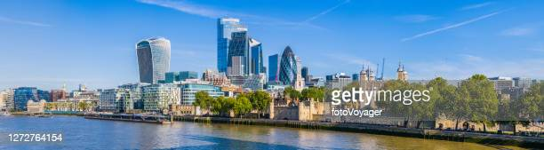 london city financial district skyscrapers overlooking river thames panorama uk - london england stock pictures, royalty-free photos & images