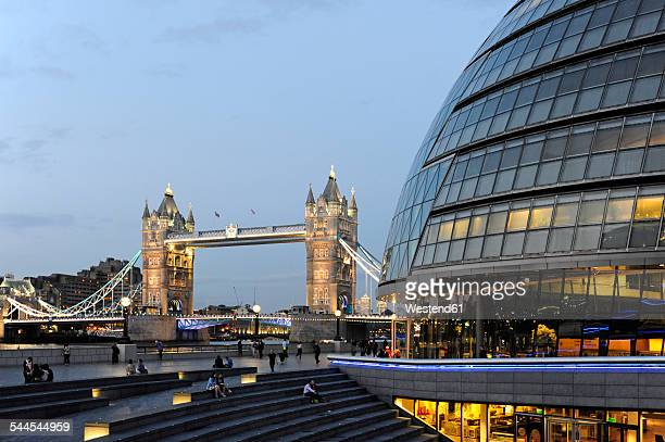 UK, London, City Hall and Tower Bridge