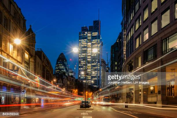 london city light trails - light trail stock photos and pictures