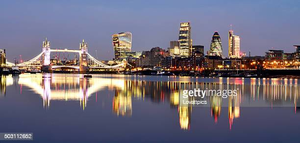 London city lights and River Thames