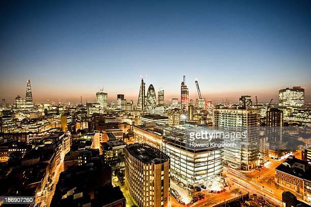London City night aerial looking West