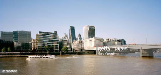 London city skyline along River Thames