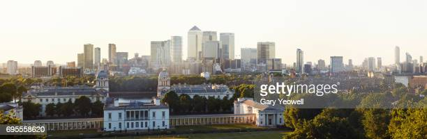 london city skyline and greenwich park - london docklands stock pictures, royalty-free photos & images
