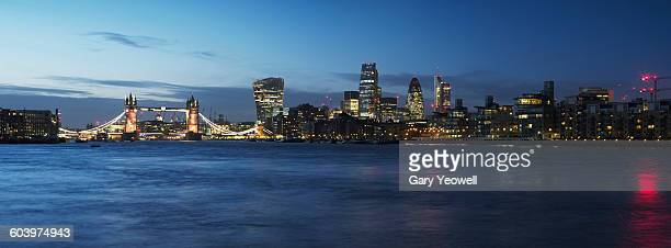 London city skyline and River Thames at dusk