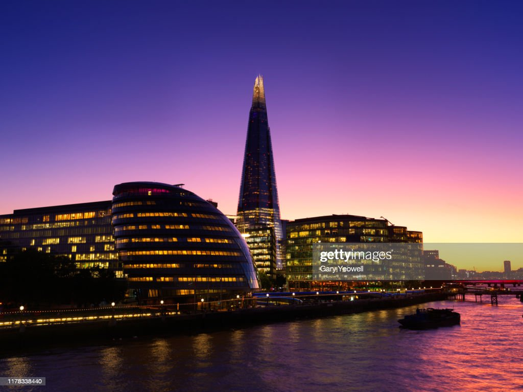 London city skyline and Shard at sunset : Stock Photo