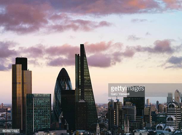 London City skyline at sunset