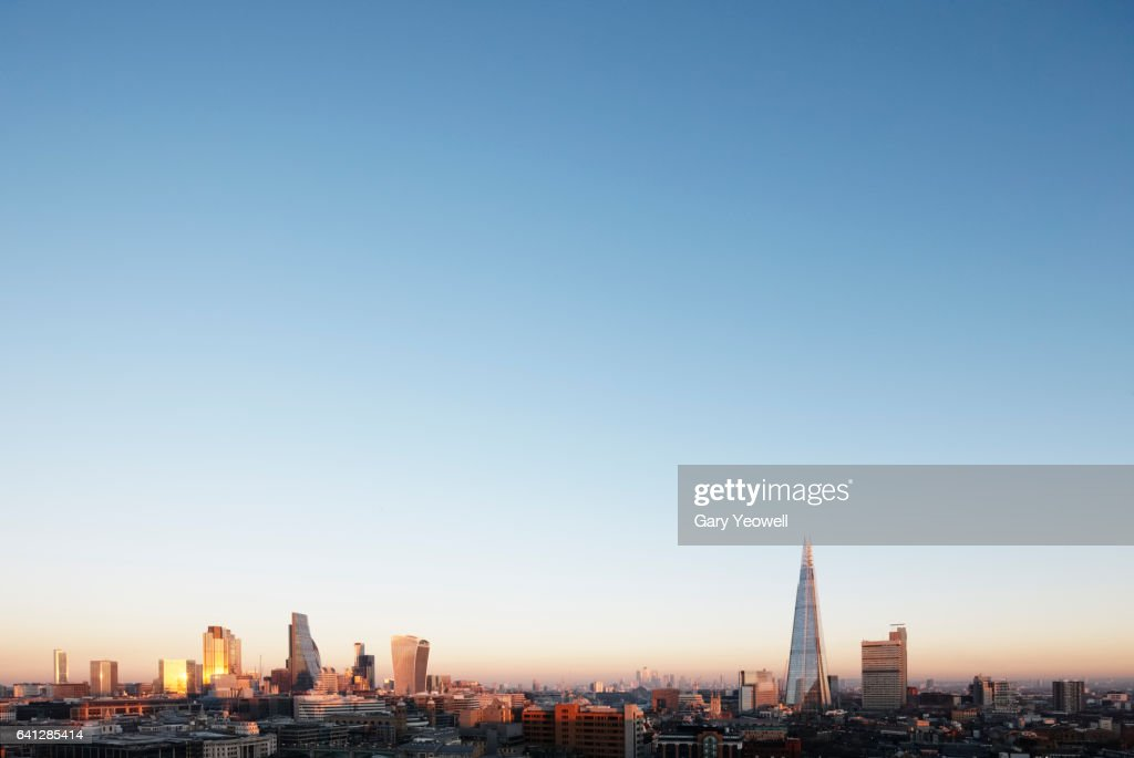 London city skyline at sunset : Stock-Foto
