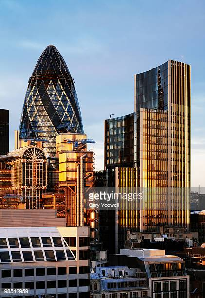 london city skyline at sunset - yeowell stock photos and pictures