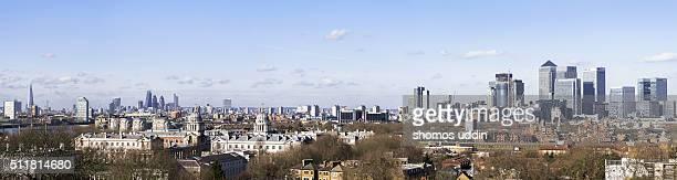 London city skyline from Greenwich Hill