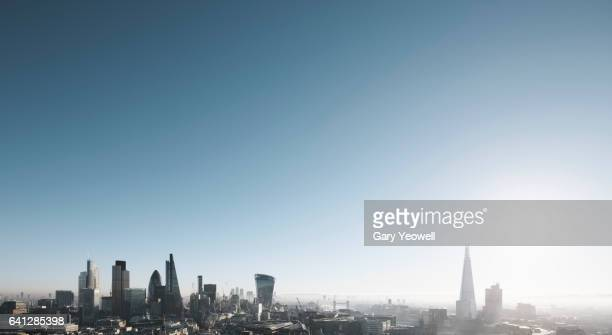 London city skyline on a misty morning