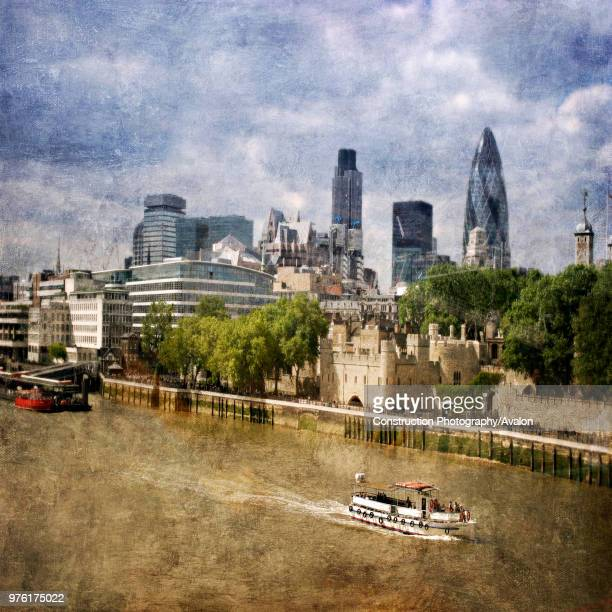 London City Skyline with Gherkin and Tower of London London UK