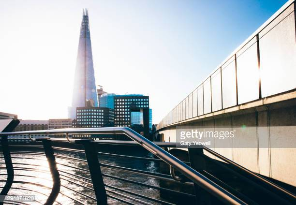 london city skyline with shard and london bridge at sunrise - architecture stock pictures, royalty-free photos & images
