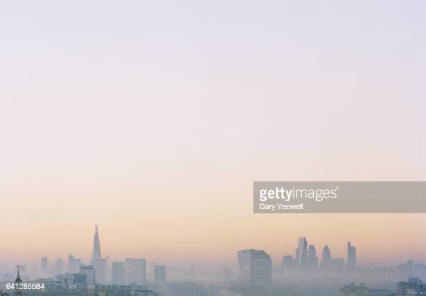 London city skyline with Shard in the mist