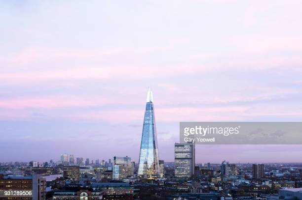 london city skyline with shard - yeowell stock pictures, royalty-free photos & images