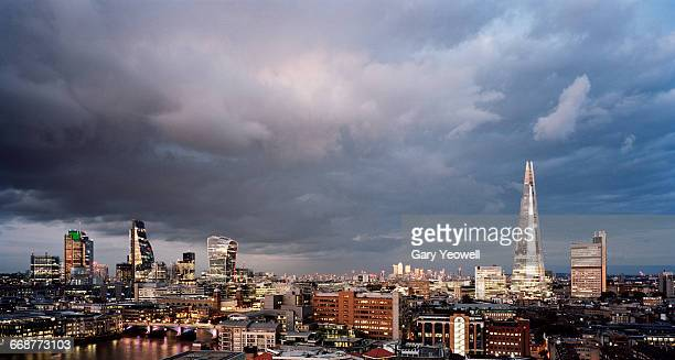 London City skyline with storm clouds overhead
