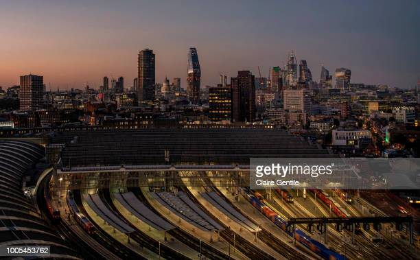 london city view- aerial - waterloo railway station london stock pictures, royalty-free photos & images