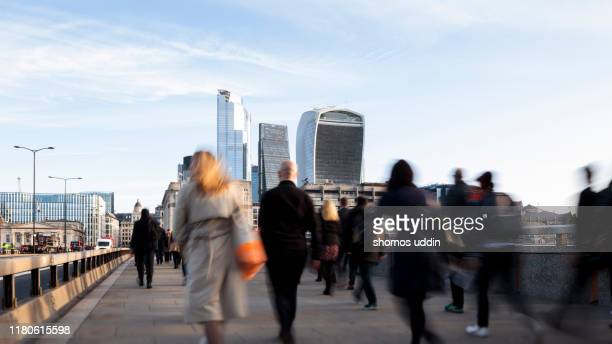 london city workers during rush hour - commuter stock pictures, royalty-free photos & images