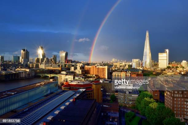 London cityscape view after rain