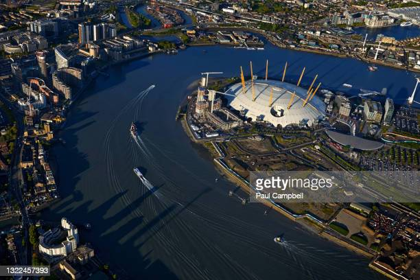 uk, london, cityscape with o2 millennium dome and thames river - the o2 england stock pictures, royalty-free photos & images