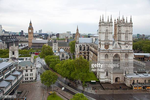 UK, London, Cityscape with Westminster Abby in foreground