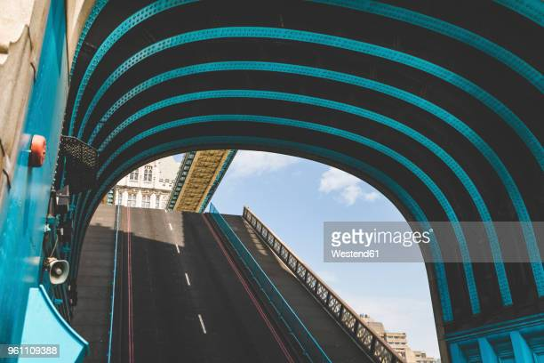 uk, london, close-up of tower bridge with lifted road - tower bridge stock photos and pictures