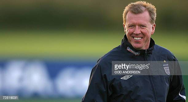 England football team manager Steve McClaren smiles during a training session at Arsenal's training ground at London Colney 13 November 2006 England...