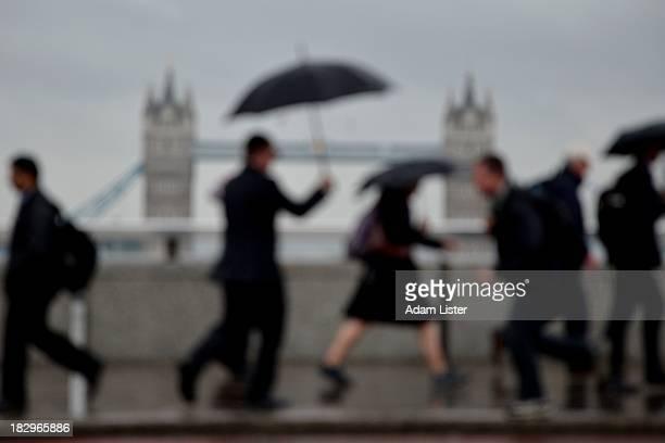 London Commuters in the Rain