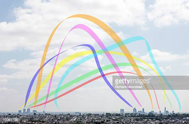 london connection rainbow - newpremiumuk stock pictures, royalty-free photos & images