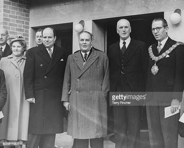 London County Council officials E M Rankin Chairman of the LCC Health Committee Rt Hon Iain MacLeod Edwin Bayliss Chairman of the LCC Hastings...