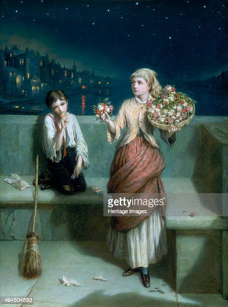'A London Crossing Sweeper and Flower Girl' 1884 A young boy with a broom has stopped for something to eat and also seems to have matches for sale...