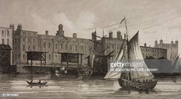 London Customs House on the Thames river London England United Kingdom engraving by Lemaitre from Angleterre Ecosse et Irlande Volume IV by Leon...