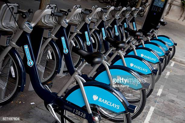 London Cycle Hire bicycles at a docking station at Liverpool Street Devonshire Square The scheme sponsored by Barclays is intended to get Londoners...