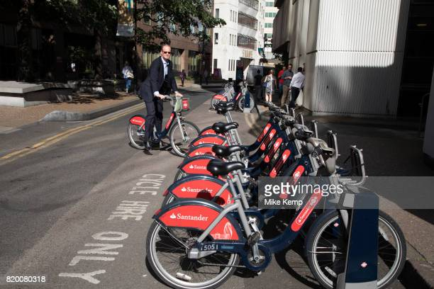 London Cycle Hire bicycles at a docking station in London England United Kingdom The scheme sponsored by Santander is intended to get Londoners...