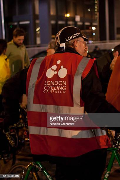 London Cycling Campaign volunteer at the vigil at Bow roundabout to protest 4 cyclists being killed in London within 8 days and the death of the 3rd...