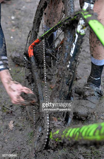 London CycloCross League 15km race at Frylands Woods Addington Surrey UK Action during the event which was won by James Waddington
