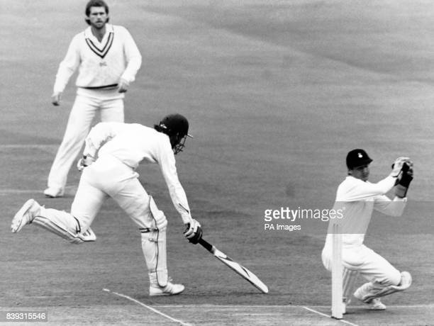 London Derbyshire's Peter Bowler just reaches the crease after a long throw from the boundary at Lords