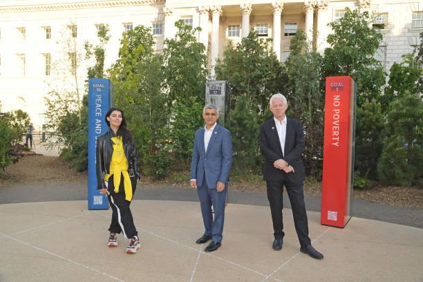 "GBR: Mayor Of London Sadiq Khan Opens ""Forest For Change: The Global Goals Pavilion"" At The London Design Biennale"