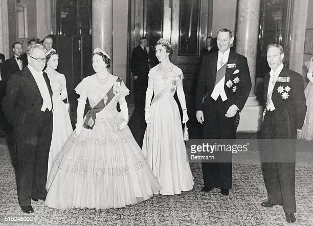 Distinguished Gathering At Government Dinner Two Kings And Queens There King George and Queen Elizabeth with King Frederick and Queen Ingrid of...