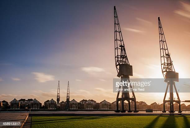 London, Dockland cranes