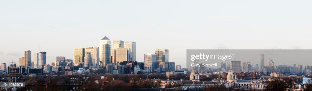 London Docklands city skyline panoramic : Stock Photo