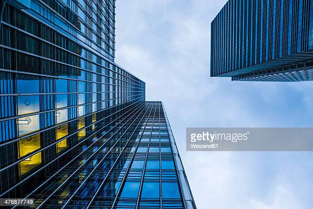 UK, London, Docklands, extreme worms eye of facades at financal district