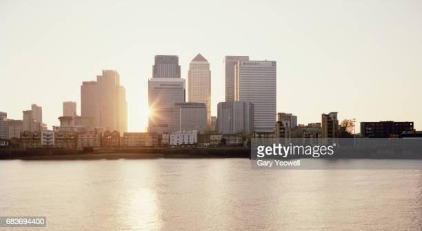 London docklands skylands at sunset