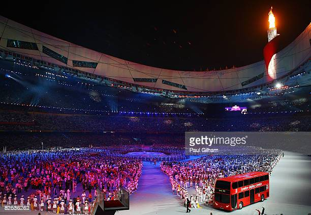 London Double Decker bus is seen during the Closing Ceremony for the Beijing 2008 Olympic Games at the National Stadium on August 24 2008 in Beijing...