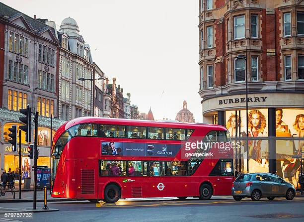 london double-decker bus: modern routemaster - double decker bus stock pictures, royalty-free photos & images