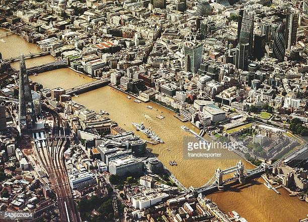 London early morning skyline aerial view
