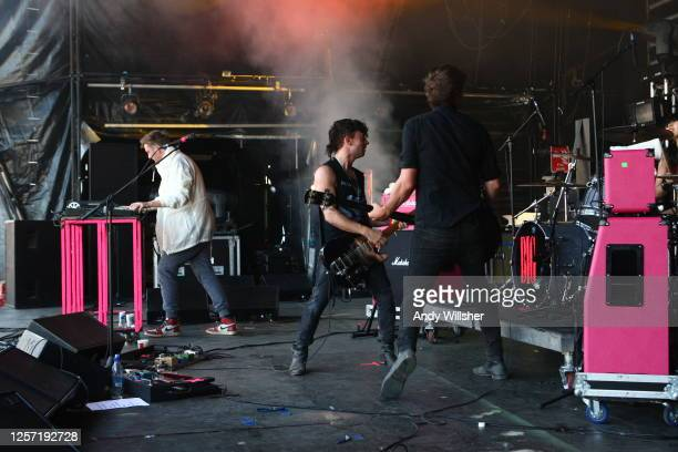 London electronic indie band The Big Pink performing at Glastonbury Festival in 2010