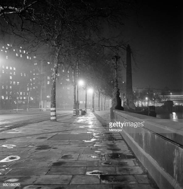 London Embankment at night. Circa 1955.