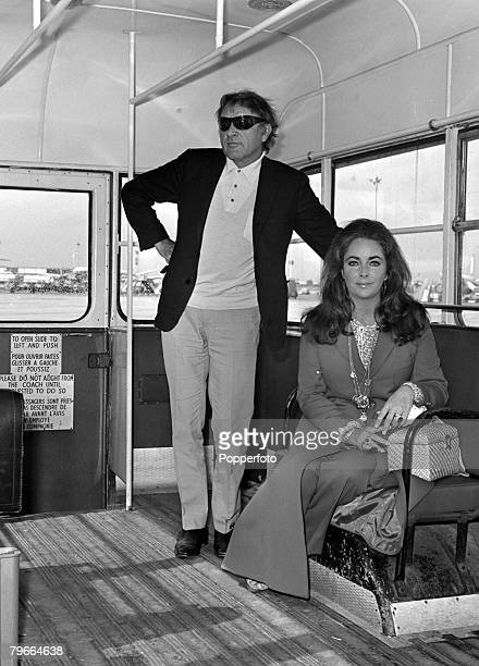 London England 10th September 1970 British film actor Richard Burton and his film actress wife Elizabeth Taylor pictured together after arriving at...