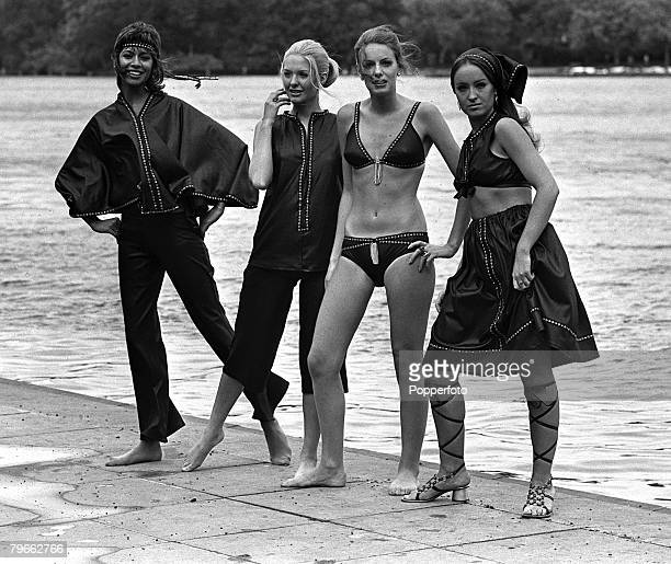 London England 10th September 1970 Four models display beach fashions for next summer Left to right Maxi pants and poncho Midi pants and tunic Two...